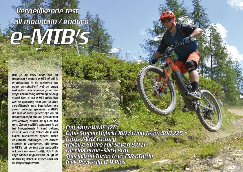 Vergelijkende test 7 all mountain/enduro e-MTB's