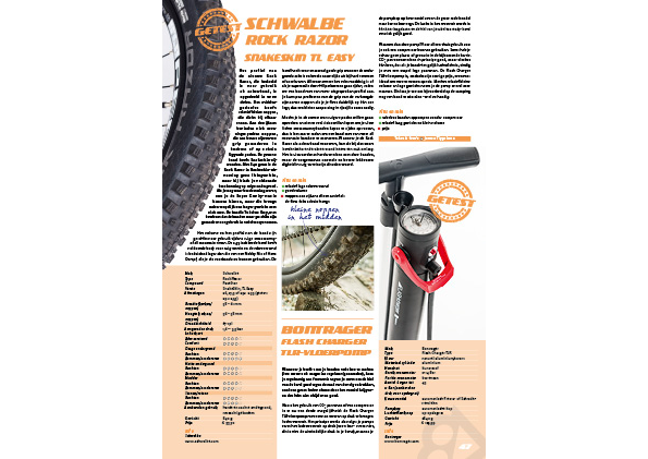 Schwalbe Rock Razor-band en Bontrager Flash Charger TLR-vloerpomp