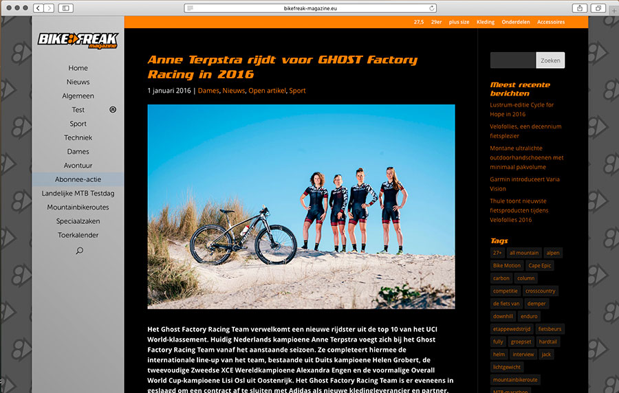 Populairste bericht op website Bikefreak-magazine