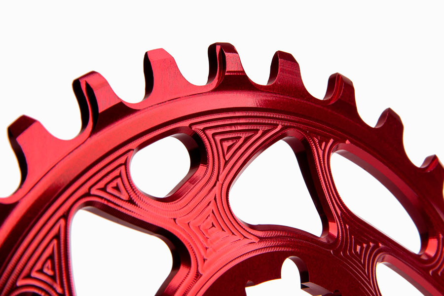 Absolute Black tandwiel red detail SRAM GXP Oval